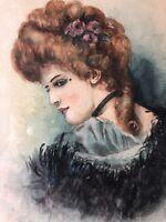 "Watercolor ""Gibson Girl"", Framed, 8"" x 11"" (Image), 13 1/4"" x 17 1/4"" (Frame)"