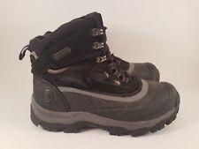 Khombu Flume Black Leather Waterproof Hiking Boots for Men, Size 8M