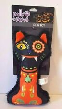 PALLY PAWS HALLOWEEN LARGE PLUSH DOG BONE SQUEAKER TOY WITH A CREEPY CAT FACE