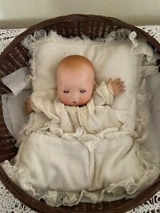 Antique German Bisque Bye-Lo Baby In Original Pillow. Excellent. Dome Head DOLL