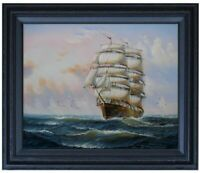 Framed Sailboat on Sea 14, Quality Hand Painted Oil Painting 16x20in
