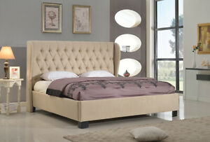 Classic Lovely Cal kIng Size Bed Tan Upholstered Tufted HB Bedframe Bedroom