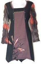 THREADZ AUSTRALIA Unique Print Tunic Dress Size S Brown Orange Black Zip Stretch