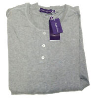 Ralph Lauren Purple Label Mens Grey Button Henley Pullover Shirt Sweater  2XL