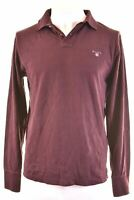 GANT Mens Polo Shirt Long Sleeve Medium Maroon Cotton Regular  N216
