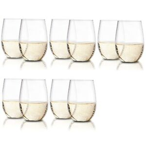 (Set of 10) Stemless Plastic Wine Glasses, Clear Flexible & Shatterproof, 16 Oz