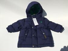 Boys Toddler Ralph Lauren Blue Puffer Down hooded Coat New With Tags Size 9M