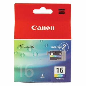 GENUINE AUTHENTIC CANON 16 COLOUR INK CARTRIDGE PIXMA BCI-16 COLOUR TWIN PACK