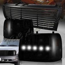 For 1999-2002 Chevrolet Silverado LED DRL Conversion Smoke Headlights+BLK Grille