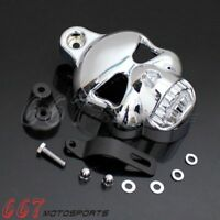 Chrome Billet Aluminum Skull Horn Cover For Harley Dyna Sportster Electra Glide