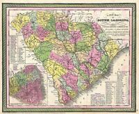 Map Antique 1850 Mitchell Charleston South Carolina Replica Canvas Art Print