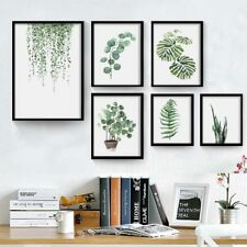 Modern Watercolor Green Plant Canvas Painting Palm Leaf Art Print Wall Poster