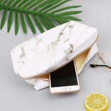 Large Leather Marble Pencil Case Pen Box Zipper Bags Makeup Storage Supplies