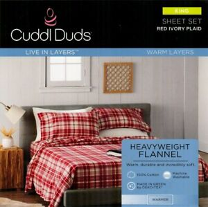 NIP Cuddl Duds KING 100% Cotton Heavyweight FLANNEL SHEETS - red ivory plaid