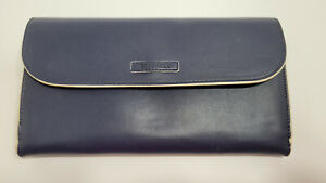 Vera Bradley Faux Leather Navy Blue Clutch Purse with Magnetic Flap Closure