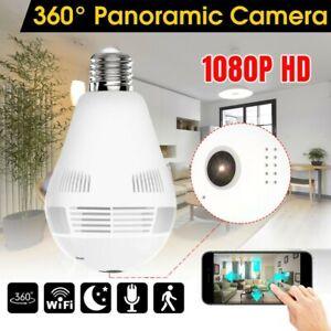 UK HD 1080P Mini Security Wifi IP Camera 360° Panoramic SPY Wireless Light Bulb