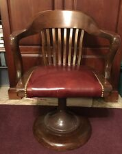 Vintage WOODEN LEATHER SPRING BASE TILTING SWIVEL OFFICE BANKER JUROR ARM CHAIR