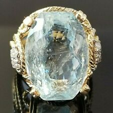 12.12TCW Vintage Antique Cushion Cut Aquamarine Diamond 14k yellow gold ring