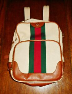 New Striped Gucci Men's Large Canvas & Leather Backpack  - Free Shipping