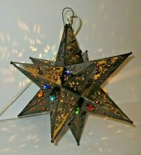 Mexican Bronze Moravian Punched Tin Star Light Chandelier