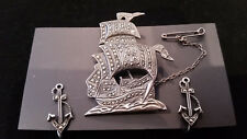 ANTIQUE MARCASITE BROOCH & EARINGS WITH NAUTICAL THEME. INTERESTING LOT.