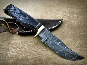 "8"" long Black Pakka Wood round scale trailing point Damascus blade Skinnin knife"