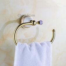 Luxury Gold Polished Brass Bathroom Hand Towel Ring Washcloth Rack Hook Holder