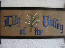 Victorian Motto Antique Sampler style Lily of theValley