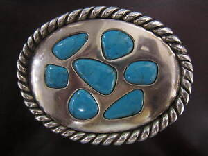 Sterling Silver Belt Buckle with Turquoise by Pat Leishman dated 1992