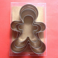 "Gingerbread man Cookie Cutter 4.25""/ 3.5""/2.5"" Holiday Party Baking Steel Set"