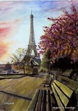 "A4 A3 A2 ""Paris"" France Art Print of original watercolour painting RussellArt"
