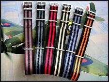 24mm Black-Grey NATO G10® Prem nylon watchband strap RAF Bond IW SUISSE 18 20 22