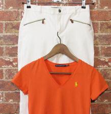 Ralph Lauren Pants & T-Shirt 6 4 2 XS Orange Riding Ivory Skinny Stretch Set Lot