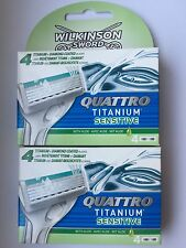 4x Wilkinson Sword Quattro Titanium Sensitive Rasierklingen NEU