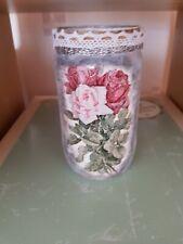 Shabby  chic jar, vase,, handmade decoupage, floral,roses
