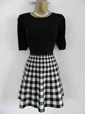 Karen Millen 2 Size 10 12 CHECK SKIRT SKATER KNIT JUMPER DRESS BLACK & WHITE