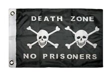 """12x18 12""""x18"""" Jolly Roger Pirate Death Zone Poison No Prisoners Boat Car Flag"""