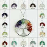 Natural Amethyst Peridot Crystal Chip Beads Tree of Life Silver Pendant Necklace