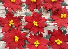 "100! Red Poinsettia Christmas Flowers - 2.5cm/1"" Handmade Mulberry Poinsettias!"