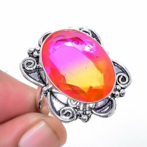 Bi-Color Tourmaline Gemstone 925 Sterling Silver Jewelry Ring s.10 S2687