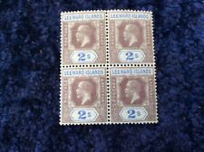 Leeward Islands George V 2/- Block of 4 Definitives Unmounted Mint MNH SG 55