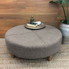 LARGE ROUND COFFEE TABLE OTTOMAN FABRIC SIDE STOOL CHAIR FOOT REST 90CM BROWN