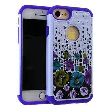 iPhone 7 - HYBRID HARD&SOFT RUBBER ARMOR CASE DIAMOND BLING BLUE PURPLE FLOWERS