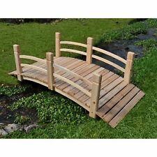 Natural 5-Foot Cedar Wood Garden Bridge Outdoor Home Living Furniture Decor Yard