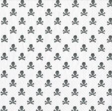 White Skull & crossbones Caspari cocktail tea napkins 20pack 25cm square