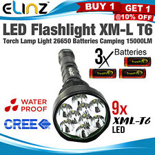 Flashlight 9 LED CREE XM-L T6 Torch Lamp Light Worklight Charger Camping 15000LM