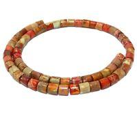 😏 Impressionen Jaspis rote Walzen 6x6 mm Edelsteinperlen Strang für Kette 😉