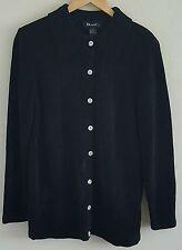 Denim & Co Women's Cardigan Sweater Size Medium Black Long Sleeves Button Front