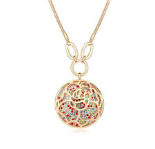 18K Rose Gold Plated Made with Swarovski Elements Big Round Rose Multi Necklace