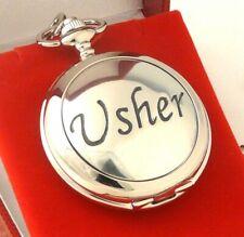 Mechanical Pocket Watch New/Boxed Usher Chrome/Pewter 17 Jewel Skeleton